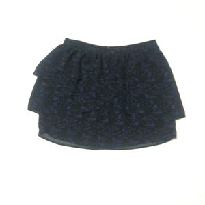 Silence + Noise Lace Print Tiered Mini skirt Blue